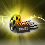 Film Reels and Clapper board. In color background stock illustration