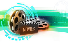 Film Reels and Clapper board. In color background royalty free illustration