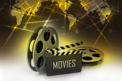 Film Reels and Clapper board Stock Photography