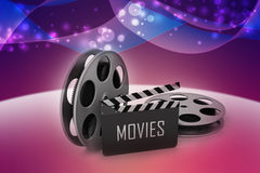 Film Reels and Clapper board. In color background vector illustration