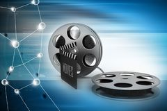 Film Reels and Clapper board. 3d illustration of Film Reels and Clapper board Stock Photo