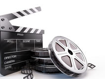 Film Reels and Clapper board. On white vector illustration