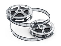 Film reels. 3d illustration of film reels isolated on white background. Cinema concept Royalty Free Stock Images