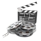 Film reels and movie clapper board. Video icon. 3D render. Illustration isolated on white background Royalty Free Stock Image
