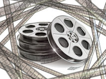 Film reels and movie film strips. 3d royalty free illustration