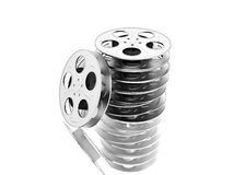 Film reels over white Stock Photos
