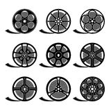 Film Reels. Set of film reels  on white, black silhouettes, EPS 8 Stock Photography