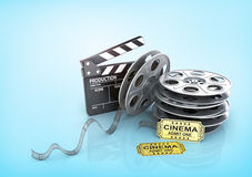 Film Reels, tickets and clapper board. Video icon Royalty Free Stock Photography