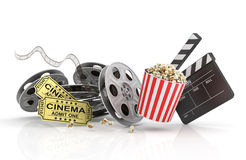 Film Reels, tickets and clapper board. Royalty Free Stock Photography