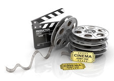 Film Reels, tickets and clapper board. Stock Image