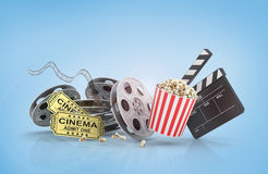 Film Reels, tickets and clapper board. Video icon Stock Photography