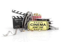 Film Reels, tickets and clapper board. Video icon Stock Image