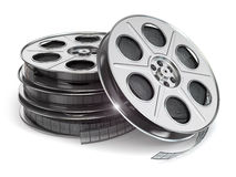 Film reels on white  background. Royalty Free Stock Photo