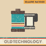 Film. Retro style grunge film, old technology Stock Image