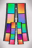 Film(RGB/CMYK). Illustration of 35mm filmstrips with RGB and CMYK colors on grey/white background royalty free illustration