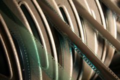 Film rings. Several film rings ready for screening, detail photo Royalty Free Stock Photography