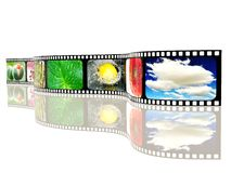 Film-roll. Colored film-roll on white background stock illustration