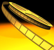 Film Roll. Hot light over the film roll Royalty Free Stock Photography