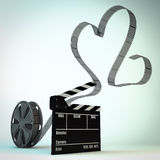 Film roll. Render of a film roll with an heart shaped film Stock Images