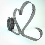 Film roll. Render of a film roll with an heart shaped film royalty free illustration