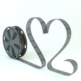 Film roll. Render of a film roll with an heart shaped film Stock Photography