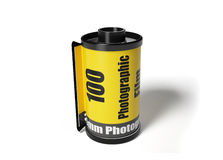 Film roll. A yellow film roll with the white background Royalty Free Stock Images