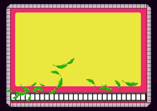 Film roll border. Background with leaves flying in yellow background design by computer generated Stock Image