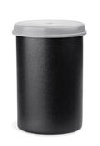 Film roll case. Black plastic film roll case isolated on white Royalty Free Stock Photography