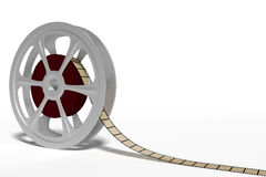 Film roll cinema industry. Old style film roll and filmstrip used in cinema industry. 3d render, 3d illustration Stock Photos