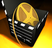Film Roll And Clapboard. Film roll inside of a clapboard box vector illustration