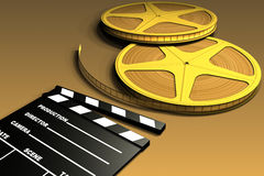 Film Roll And Clapboard Stock Image