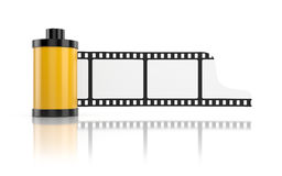Film roll isolated on white with reflection Royalty Free Stock Images
