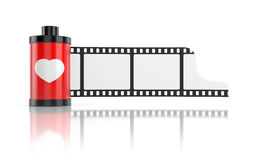 Film roll isolated on white with reflection Royalty Free Stock Image