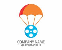 Film roll parachute logo. Good for your logo or mascot company Royalty Free Stock Images