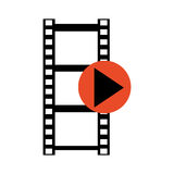 Film roll with play icon , Vector illustration over white background Royalty Free Stock Images