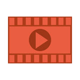 Film roll with play icon , Vector illustration over white background Stock Photography