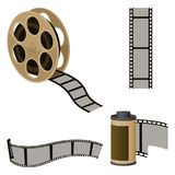 Film roll sets of elements for filmmaking vector illustration. Film roll sets of elements for filmmaking. Movie industry icons to produce motion pictures. Camera Stock Image