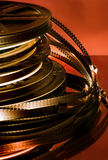 Film rolls. Stacked film rolls, from before video royalty free stock photography
