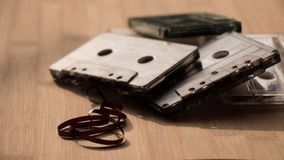 Film run out of Tape Cassette Royalty Free Stock Image