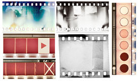 Film samples. Vintage film textures set, isolated Stock Image