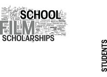 Film School Scholarships Text Background  Word Cloud Concept. FILM SCHOOL SCHOLARSHIPS Text Background Word Cloud Concept Stock Photography