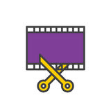 Film and scissors, video trim filled outline icon, vector sign vector illustration
