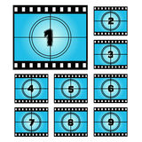 Film Screen Countdown Numbers. Stock Photography