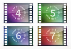 Film screen countdown. Vector illustration of film screen countdown backgrounds Royalty Free Stock Photography