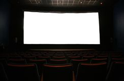 Film screen in dark cinema Stock Image