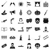 Film screen icons set, simle style. Film screen icons set. Simple style of 36 film screen vector icons for web isolated on white background Royalty Free Stock Photography