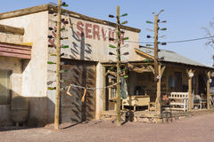Film set design. Building on the desert . Gas Haven set design Stock Photos