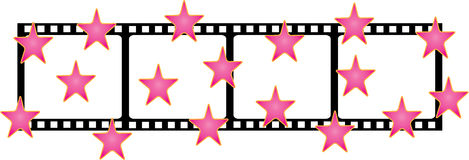 Film shape with stars.  Stock Photo
