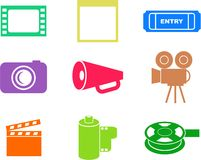 Film shapes. Collection of film and media icon shapes isolated on white Stock Photo