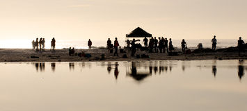 Film shoot. Personnel at end of day at Noordhoek royalty free stock image
